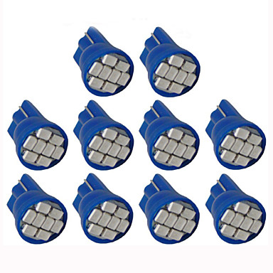 lorcoo ™ 10pcs οδήγησε φώτα των αυτοκινήτων λαμπτήρα T10 3528 4-SMD 194 168 (λευκό, μπλε)