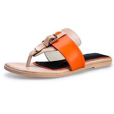 Naiset Kengät Nahka Kevät Kesä Matala korko Käyttötarkoitus Kausaliteetti Puku Oranssi Sininen Pinkki