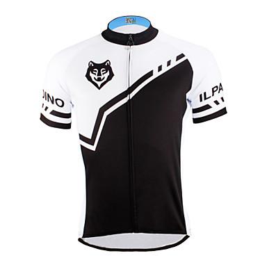 ILPALADINO Herrn Kurzarm Fahrradtrikot - Schwarz Schwarz mit Weiss Fahhrad Trikot/Radtrikot, Rasche Trocknung, UV-resistant, Atmungsaktiv