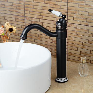 Antiikki Integroitu Pyörivä Keraaminen venttiili Yksi reikä Yksi kahva yksi reikä Öljytty pronssi , Kylpyhuone Sink hana