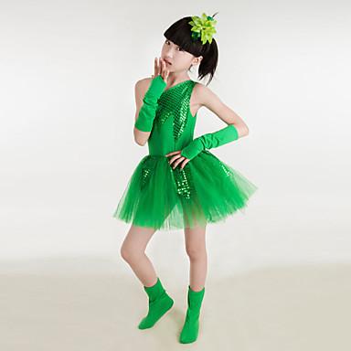 הופעות שמלות בגדי ריקוד ילדים ביצועים כותנה / פוליאסטר נצנצים 6 חלקים בלי שרוולים גבוה כפפות / שמלות / גרביונים / אביזרים לשיער