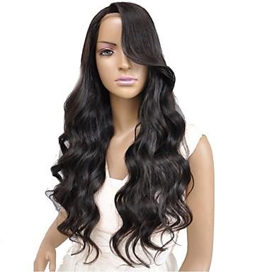Emberi haj Csipke Csipke eleje Paróka Hullámos 130% 150% Sűrűség 100% kézi csomózású Afro-amerikai paróka Természetes hajszálvonal Rövid