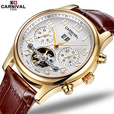 voordelige Herenhorloges-Carnival Heren Skeleton horloge Automatisch opwindmechanisme Leer Bruin 30 m Hol Gegraveerd Analoog Amulet Aristo / Roestvrij staal