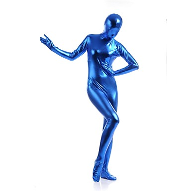 Skinnende Zentai Drakter Catsuit Huddrag Ninja Voksne Cosplay-kostymer Blå Ensfarget Spandex Skinnende Metallisk Herre Dame Halloween / Høy Elastisitet