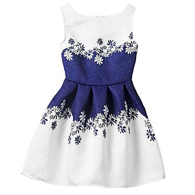 Kinder Mädchen Blumig Ausgehen Druck Ärmellos Polyester Kleid Blau
