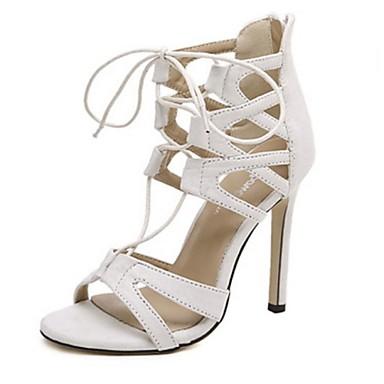 בגדי ריקוד נשים נעליים קשמיר קיץ עקב סטילטו ל קזו'אל בָּחוּץ לבן שחור