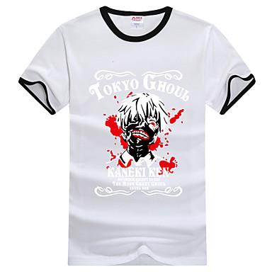에서 영감을 받다 도쿄 구울 켄 Kaneki 에니메이션 코스프레 코스츔 코스프레 T 셔츠 프린트 화이트 짧은 소매 티셔츠
