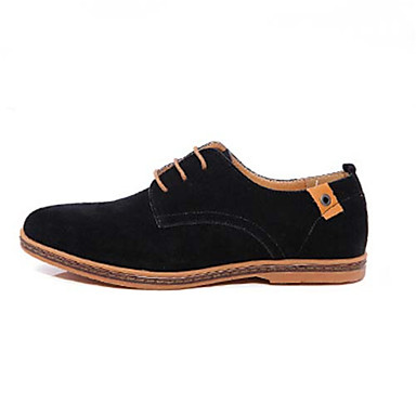 Men's Shoes Leather Spring Summer Fall Comfort Oxfords Grey Black Brown  Blue Green