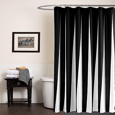 Cortinas de Banheiro Modern Poliéster Riscas Máquina