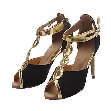 Damen Latin Beflockung Sandalen Absätze Innen Leistung Professionell Anfänger Praxis Schnalle Ausgehöhlt Maßgefertigter Absatz Gold 1