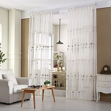 Purjerengas Kynälaskostettu 2 paneeli Window Hoito Moderni Eurooppalainen Kantri, Kirjailu Living Room Polyester/puuvillaseos materiaali