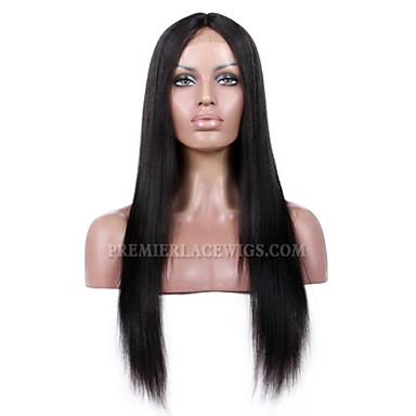 Női Emberi hajból készült parókák Csipke első paróka Ragasztómentes háló 120% 130% 150% Sűrűség Egyenes yaki paróka Természetes szín Jet