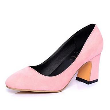 펌프스/힐-드레스-여성의 신발-뾰족한 앞코-레더렛-청키 굽-블랙 / 핑크 / 레드 / 그레이 / 베이지