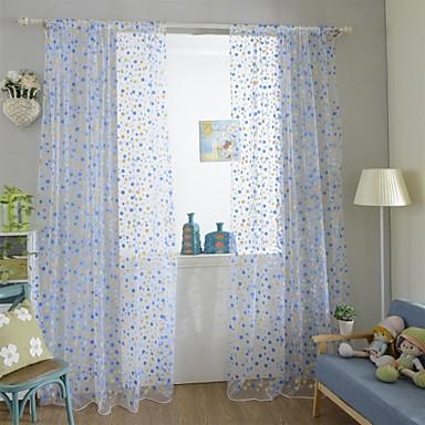 One Panel Maalaistyyliset Kukka-aihe / Kasvitieteellinen Kuten kuvassa Living Room Polyesteri Läpinäkyvät verhot Shades