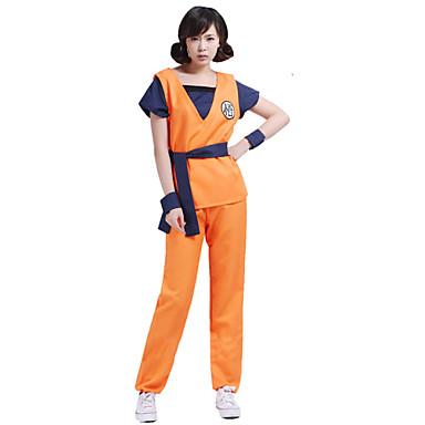 Innoittamana Dragon Ball Son Goku Anime Cosplay-asut Cosplay Puvut Painettu Toppi Housut Vyö Käyttötarkoitus Miehet