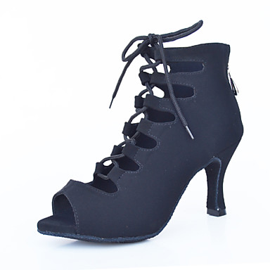 Mulheres Sapatos de Dança Latina / Sapatos de Dança Moderna Flocagem Sandália Ziper Salto Agulha Personalizável Sapatos de Dança Vermelho / Azul / Púrpura / Espetáculo / Couro