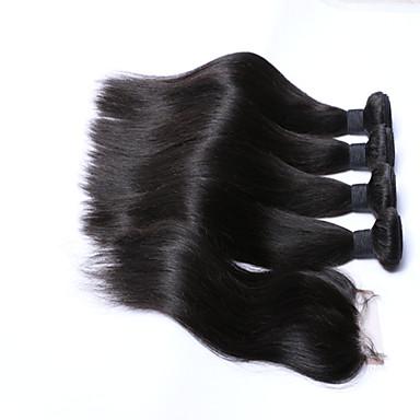 Trama do cabelo com Encerramento Cabelo Peruviano Retas 6 meses 3 Peças tece cabelo