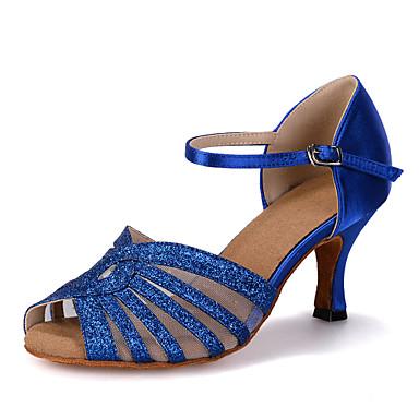 baratos Sapatos de Salsa-Mulheres Glitter / Cetim Sapatos de Dança Latina / Sapatos de Salsa Gliter com Brilho / Presilha / Vazados Sandália / Salto / Têni Salto Carretel Personalizável Vermelho / Azul / Dourado / Espetáculo