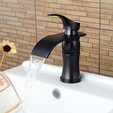 Nykyaikainen Integroitu Vesiputous Keraaminen venttiili Yksi reikä Yksi kahva yksi reikä Öljytty pronssi , Kylpyhuone Sink hana