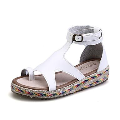 billige Toppsalg-Dame Flat Heel Sandals Plattform Spenne Mikrofiber Høye Sko / Gladiator Sommer Svart / Brun / Grønn