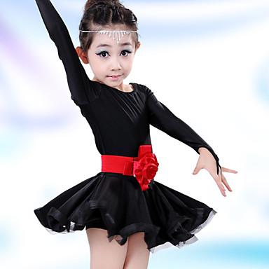 נצטרך אנחנו ריקוד לטיני ילדים מוצק צבע ביצועים כותנה פרחים שמלות תחפושות ריקוד
