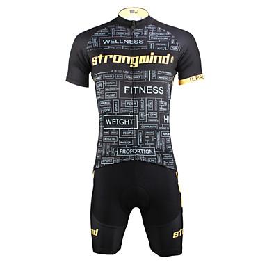 ILPALADINO Herre Kortermet Sykkeljersey med shorts - Svart/Gul Sykkel Shorts Jersey Klessett, Fort Tørring, Ultraviolet Motstandsdyktig,