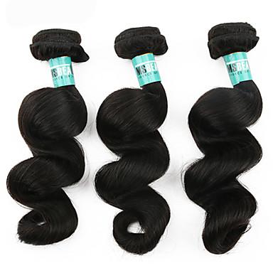 Υφάνσεις ανθρώπινα μαλλιών Βραζιλιάνικη Χαλαρό Κυματιστό 3 Κομμάτια υφαίνει τα μαλλιά