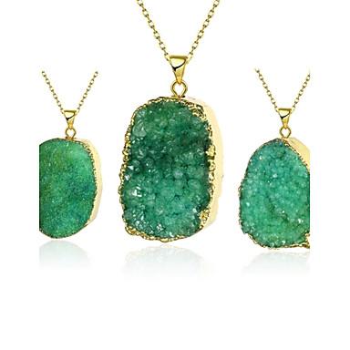 שרשראות קריסטל שרשראות תליון תכשיטים Party / יומי Oval Shape קריסטל / נחושת / ציפוי זהב ירוק 1pc מתנות