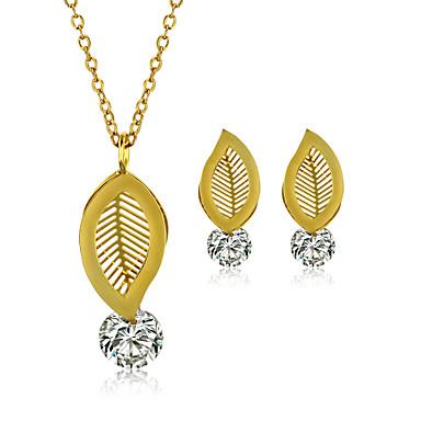Damen Paar Schmuckset Halskette / Ohrringe Edelstahl Zirkon Titanstahl Stahl Blattform Modisch Hochzeit Party Alltag Normal Ohrringe