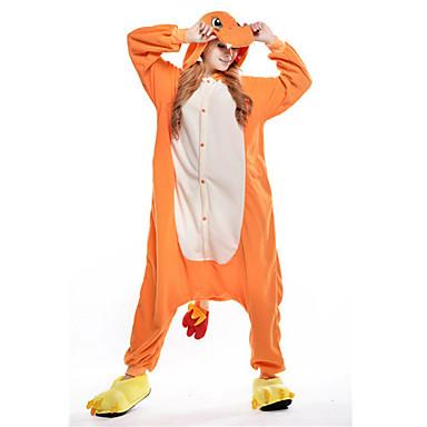 Déguisement Combinaison Adulte Dragon Polaire Pyjamas Kigurumi pour Homme et Femme Orange Noël Halloween Carnaval Animal Cosplay Costumes