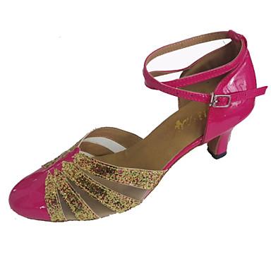 Mulheres Moderna Glitter Couro Envernizado Sandália Interior Espetáculo Profissional Iniciante Ensaio/Prática Salto Personalizado Amarelo