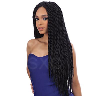 נשים פאות סינתטיות חזית תחרה ארוך Kinky Curly שחור Jet Black שחור חום כהה פאת צמות צמות אפריקאיות חלק אמצעי פאה אפרו-אמריקאית לנשים שחורות