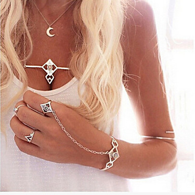 נשים צמידי חפתים קריסטל אקרילי סגסוגת עיצוב מיוחד אופנתי תכשיטים כסף תכשיטים 1set