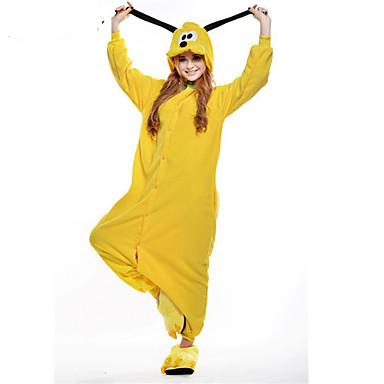 Erwachsene Kigurumi-Pyjamas Dog Pyjamas-Einteiler Kostüm Polar-Fleece Gelb Cosplay Für Tiernachtwäsche Karikatur Halloween Fest / Feiertage / Weihnachten