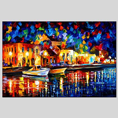 Maalattu Abstraktit maisemakuvatModerni / European Style 1 paneeli Kanvas Hang-Painted öljymaalaus For Kodinsisustus