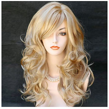 cheap Synthetic Wigs-Synthetic Wig Blonde Color Wig With Bangs Long Curly Wavy Synthetic Hair Side Part Blonde Wig Women's Long Capless