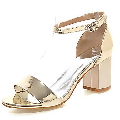 Sandaalit-Leveä korko-Naisten kengät-Kiiltonahka-Pinkki / Punainen / Hopea / Kulta-Puku-Avokärkiset