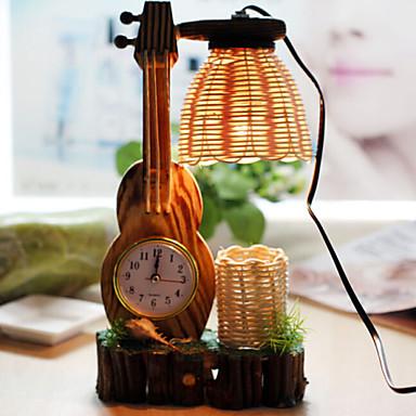 kreativ tre fiolin med klokke penn container dekorasjon bordlampe soverom lampe gave til gutt