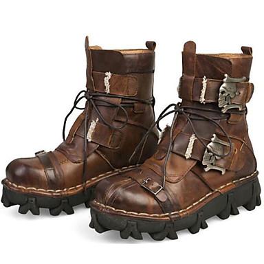 MasculinoConforto Botas de Cowboy Botas Montaria Botas da Moda Tenis com Rodinhas-Rasteiro-Preto Marrom-Pele Napa-Ar-Livre Escritório &