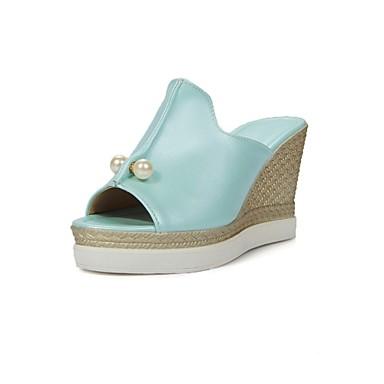 Žene Cipele Umjetna koža Ljeto Salonke s remenčićem Platformske cipele Wedge Heel Umjetni biser za Formalne prilike Obala Crn Plava Pink