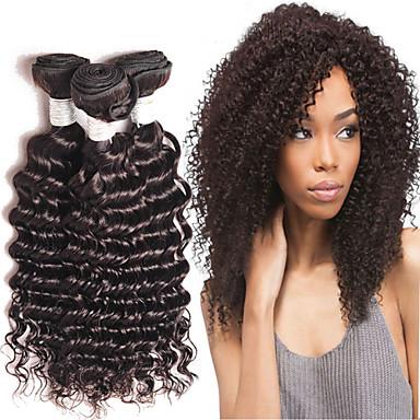 baratos Extensões de Cabelo Natural-4 pacotes Cabelo Brasileiro Encaracolado 8A Cabelo Humano Cabelo Humano Ondulado Tramas de cabelo humano Extensões de cabelo humano