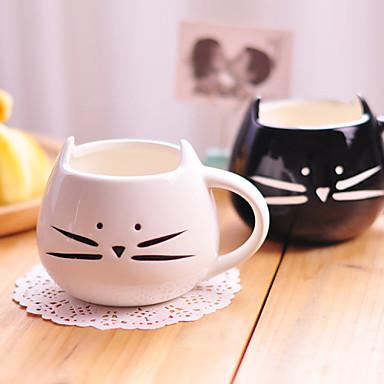 1 개 300ml의 귀여운 흑백 고양이 세라믹 컵 성격 단일 컵 농촌 사랑의 감정 컵 선물