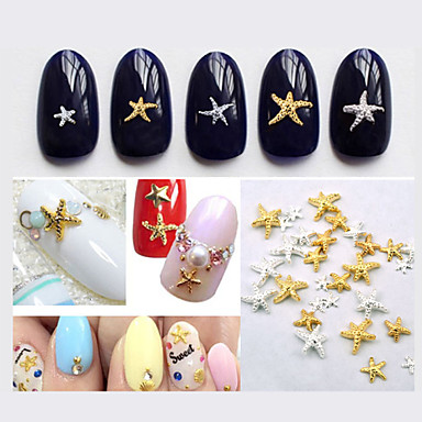 Other Decorations-Lovely-Sormi / Varvas-Muuta-3mm and 5mm-50pcs Mix color sizes Starfish Nail Decorations