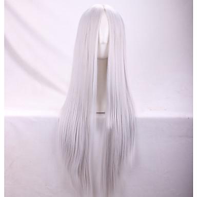 Syntetiske parykker Dame Rett / Yaki Sølv Asymmetrisk frisyre Syntetisk hår Naturlig hårlinje Sølv Parykk Lang Lokkløs Sølv