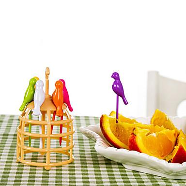 6 יח 'קריקטורה ציפור עיצוב פירות מזלג כלי בישול יצירתי הביתה קישוט