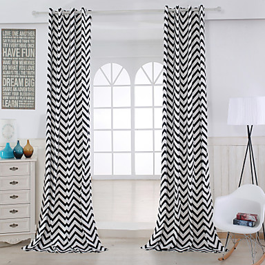 Vorhänge drapiert Wohnzimmer Streifen Baumwolle Druck