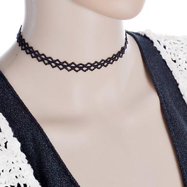 נשים סגנון קעקוע אופנתי שרשראות מחרוזת חישוק לצוואר תכשיטים גותית קעקוע קולר תחרה בד שרשראות מחרוזת חישוק לצוואר תכשיטים גותית קעקוע קולר