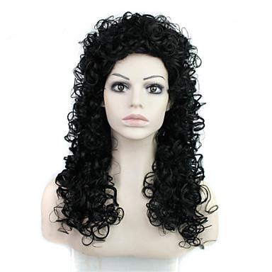 여성 인조 합성 가발 캡 없음 중 Kinky Curly 블랙 의상 가발
