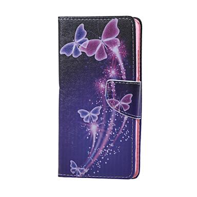 Etui Til Huawei Huawei Honor 5X Etui Huawei Kortholder Lommebok med stativ Heldekkende etui Sommerfugl Hard PU Leather til Huawei Honor