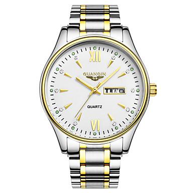 Herren Armbanduhr Quartz Kalender / Wasserdicht / leuchtend Leder Band Schwarz / Silber / Braun Marke
